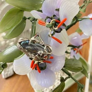 Vintage silver Japanese Biwa pearl